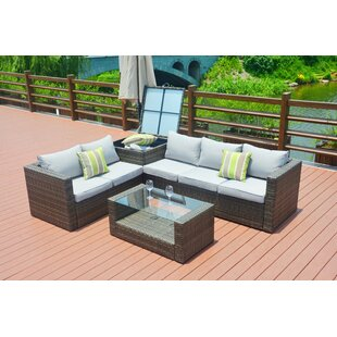 Ollie 4 Piece Rattan Sofa Seating Group with Cushions