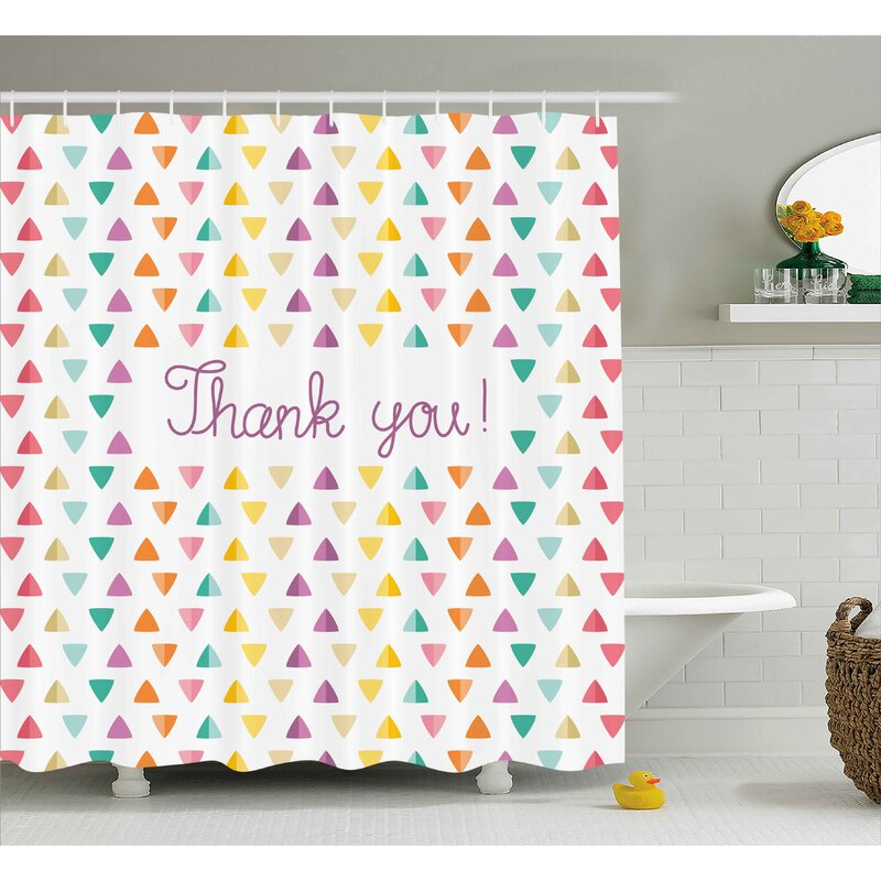 Wrought Studio Banister Rainbow Thanks Quote Shower Curtain   Wayfair