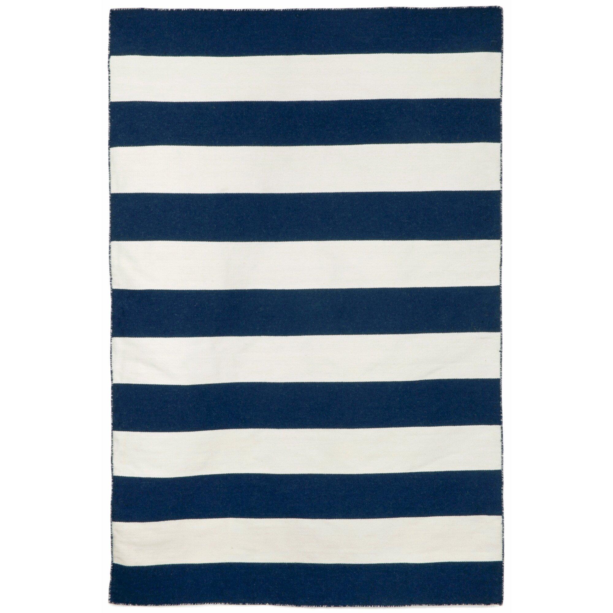 Beachcrest Home Ranier Stripe Handwoven Flatweave Navy White