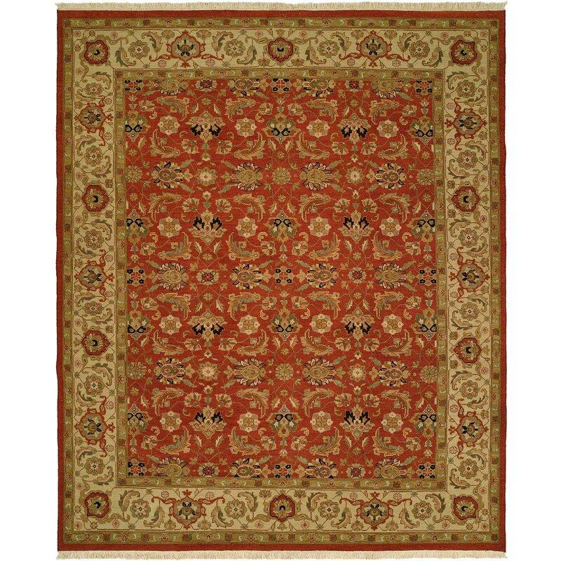 Meridian Rugmakers Badal Oriental Hand Knotted Wool Red Beige Area Rug Wayfair