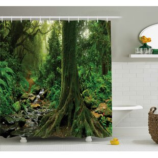 Compare prices Rain Forest Decor Shower Curtain By East Urban Home