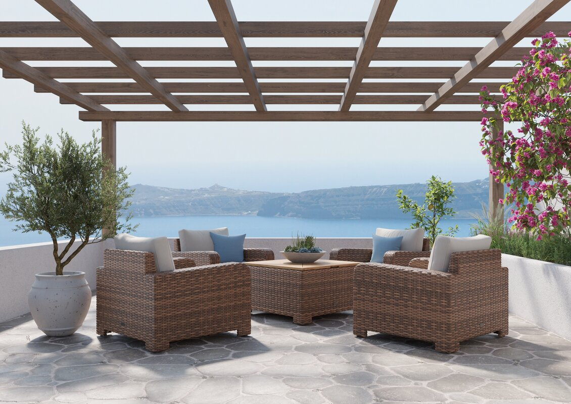 Winston Nico Lounge Chair and Chat Table/Corner Chat 5 Piece Rattan Seating Group with Sunbrella Cushions