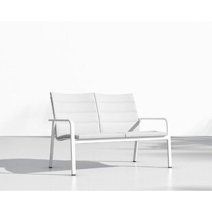 Brayden Studio Booth Patio Loveseat with Cushions