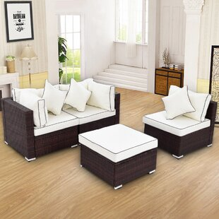 Breakwater Bay Sandburg 4 Piece Rattan Conversation Set with Cushions