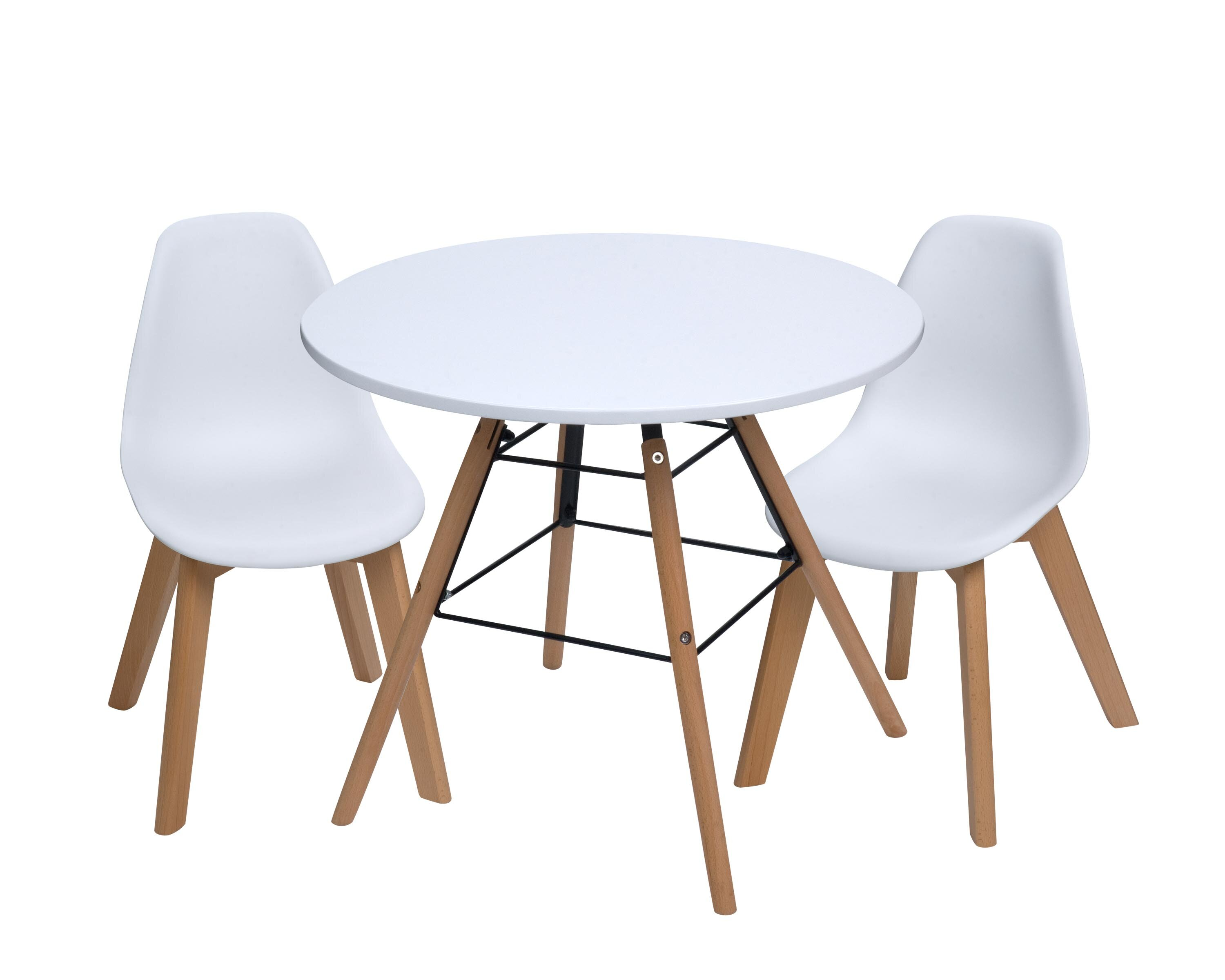 Picture of: Isabelle Max Letendre Kids 3 Piece Round Table And Chair Set Reviews Wayfair