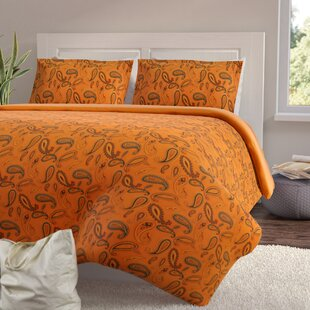 Paisley and Solid Flannel Cotton Duvet Cover Set