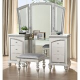Ketter Vanity Set with Stool and Mirror by Rosdorf Park
