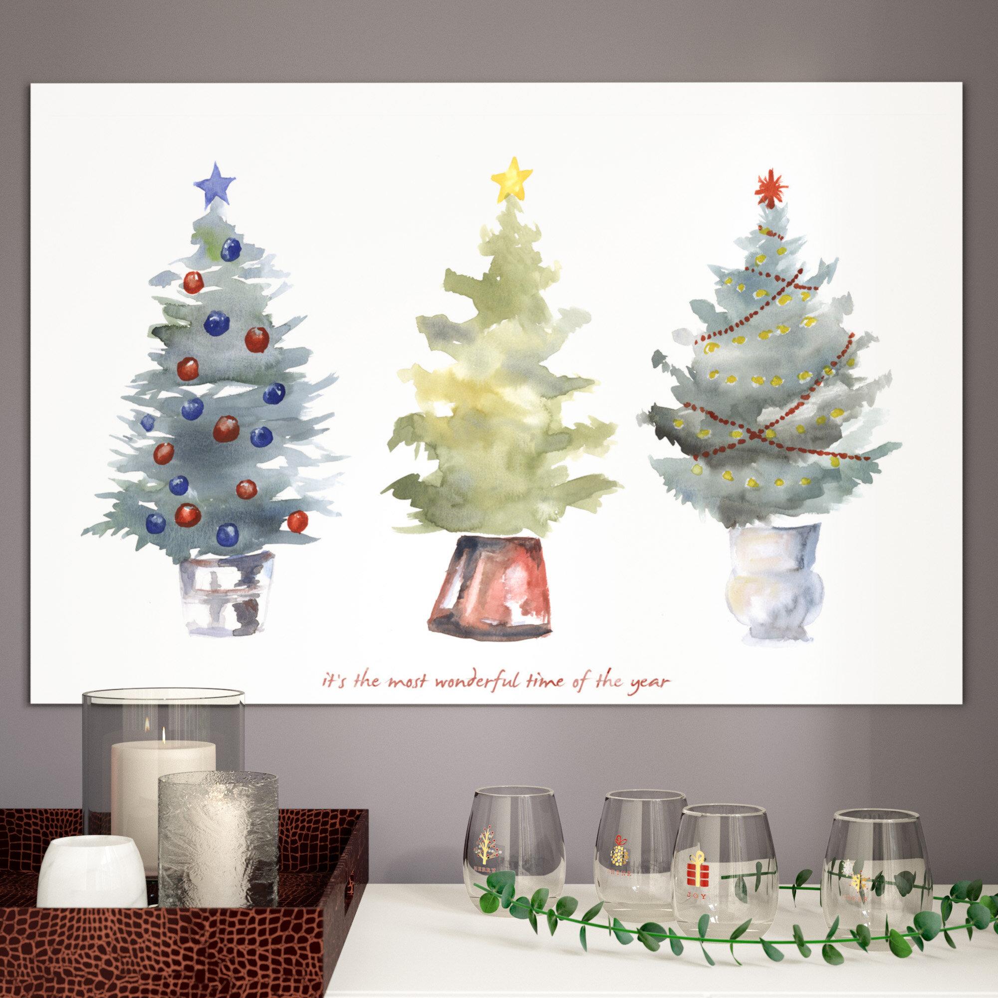 Ivy Bronx Three Christmas Trees Watercolor Painting Print On