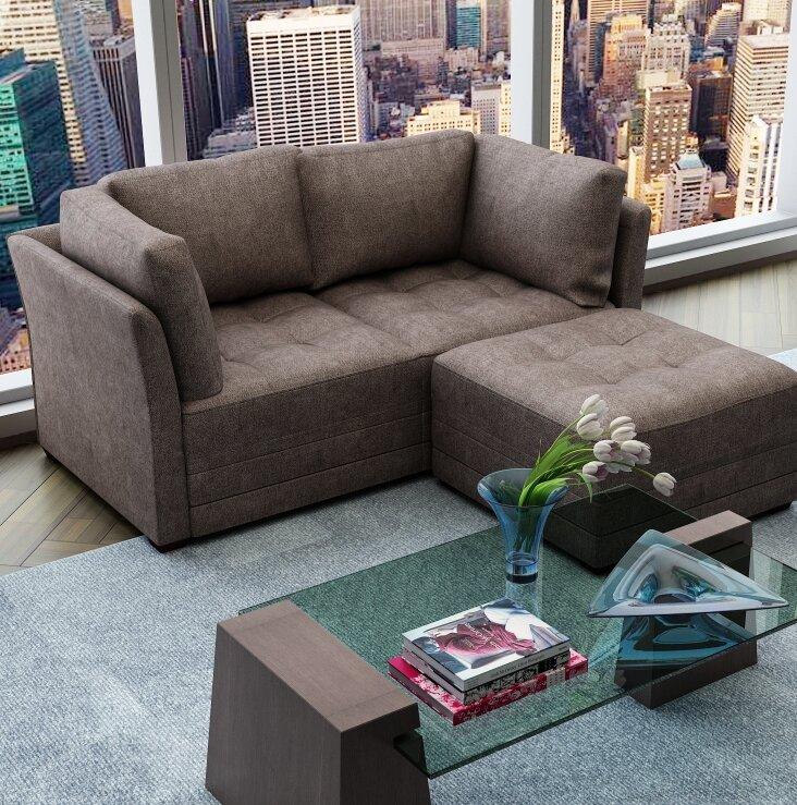 Tremendous Frampton Upholstery Modular Loveseat With Ottoman Beatyapartments Chair Design Images Beatyapartmentscom