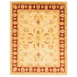 Georgeson Hand Knotted Wool Red/Beige Rug by Rosalind Wheeler