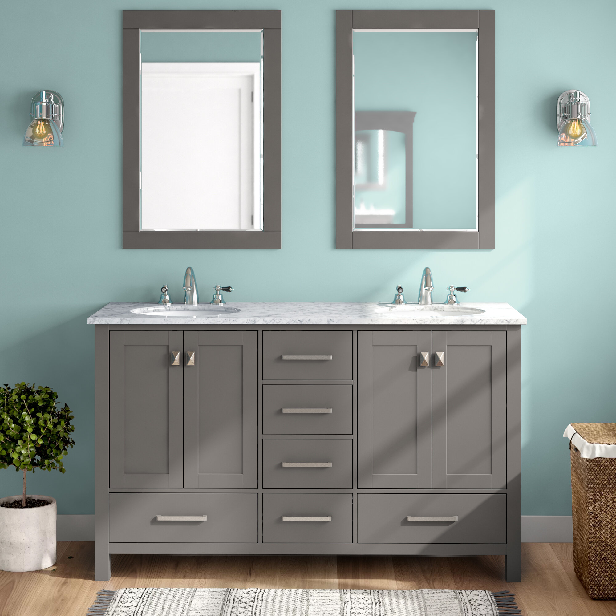 Beachcrest Home Newtown 60 Double Bathroom Vanity Set With Mirror Reviews Wayfair
