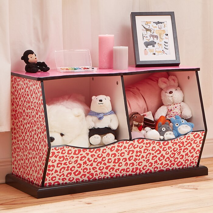 Teamson Kids Fashion Prints Leopard 2 Bin Cubby Storage Toy Box