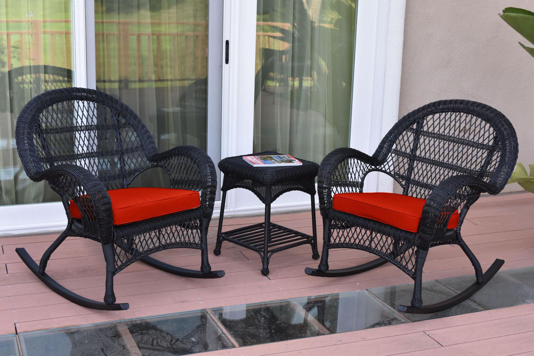 August Grove Mangum 3 Piece Rattan Seating Group With Cushions Reviews Wayfair Ca