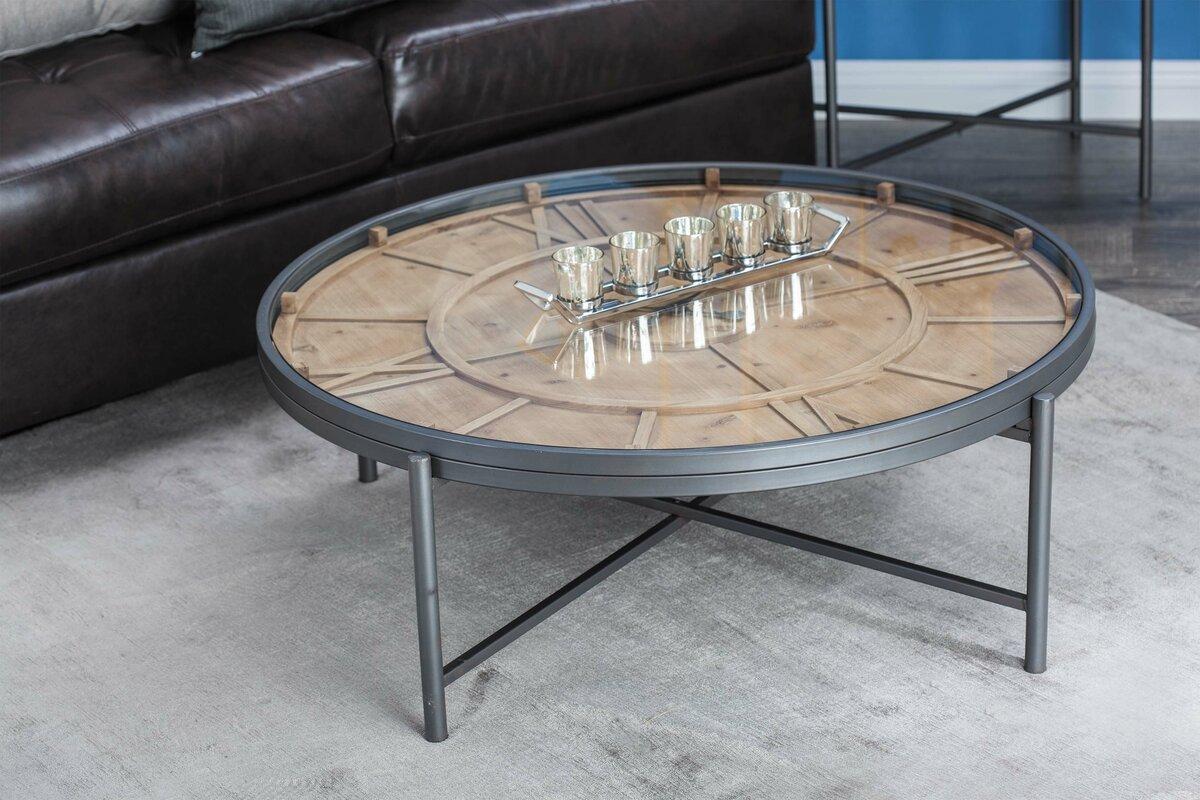 Metal/Wood Clock Coffee Table