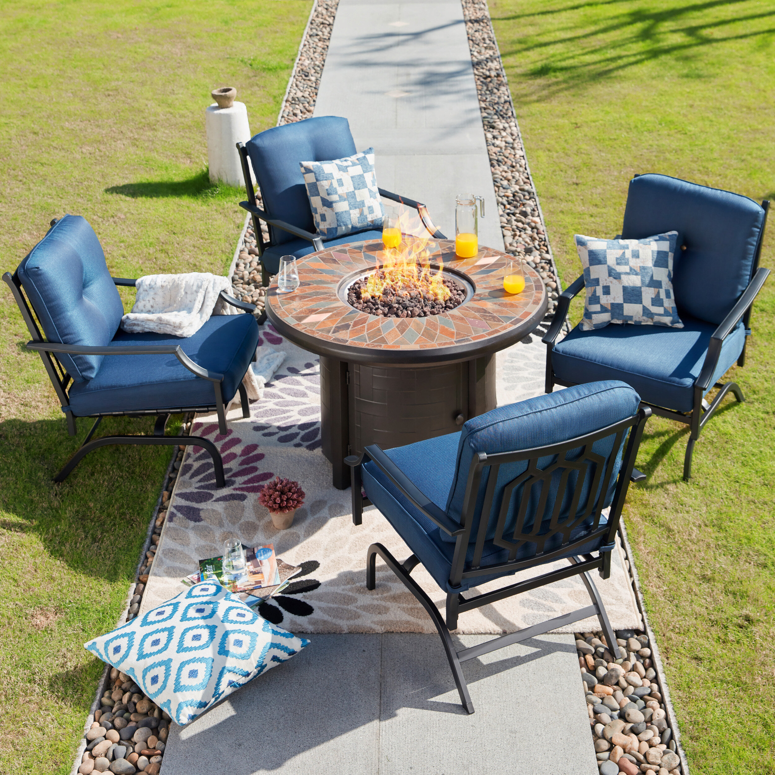 Darby Home Co Beil 5 Piece Sofa Multiple Chairs Seating Group With Cushions Wayfair