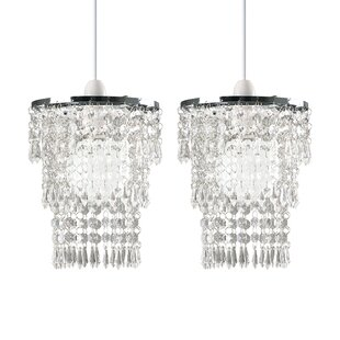 Crystal Chandelier With Large White Shade & 40Mm Crystal Balls H 19.5