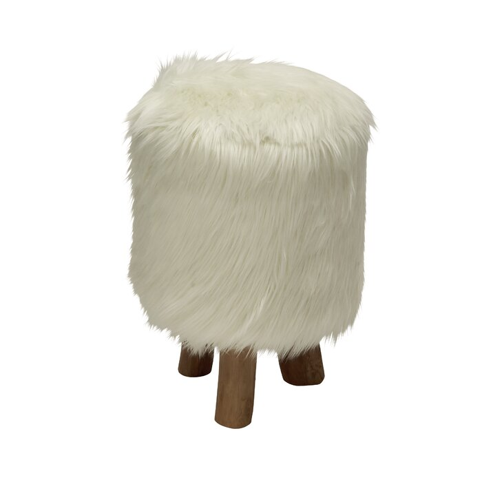 Peachy Ozella Wood Faux Fur Round Stool Cjindustries Chair Design For Home Cjindustriesco