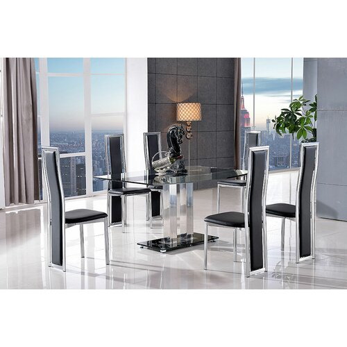Biddulph Steel and Glass Dining Set with 6 Chairs Metro Lane