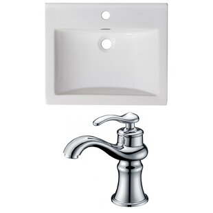 1 Hole Ceramic Rectangular Drop-In Bathroom Sink with Faucet and Overflow by American Imaginations