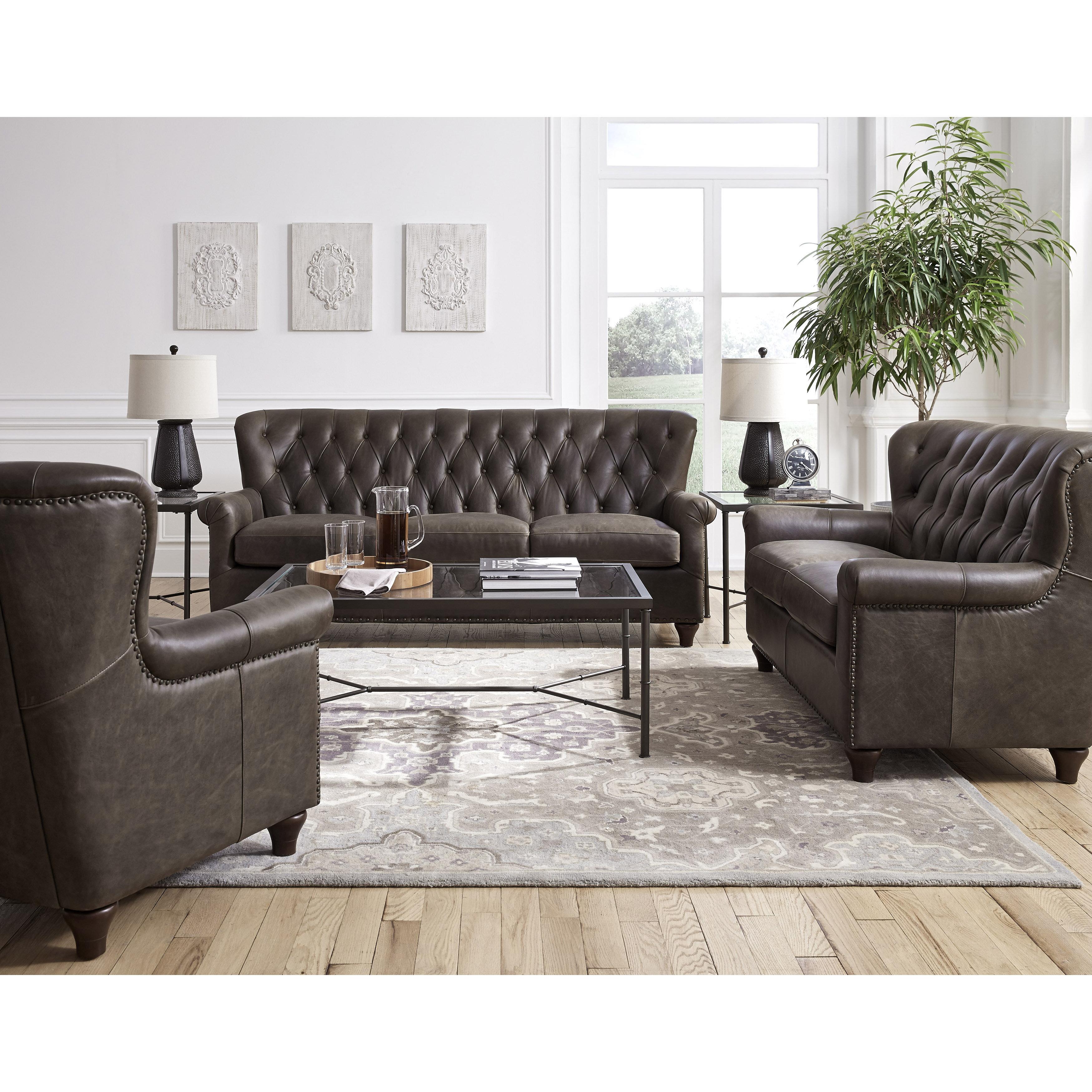 Coastal Farmhouse Larchmont 3 Piece Leather Living Room Set Reviews Wayfair