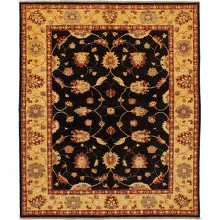 One-of-a-Kind Dombrowski Hand-Knotted 6'5 x 7'8 Wool Black/Beige Area Rug Isabelline