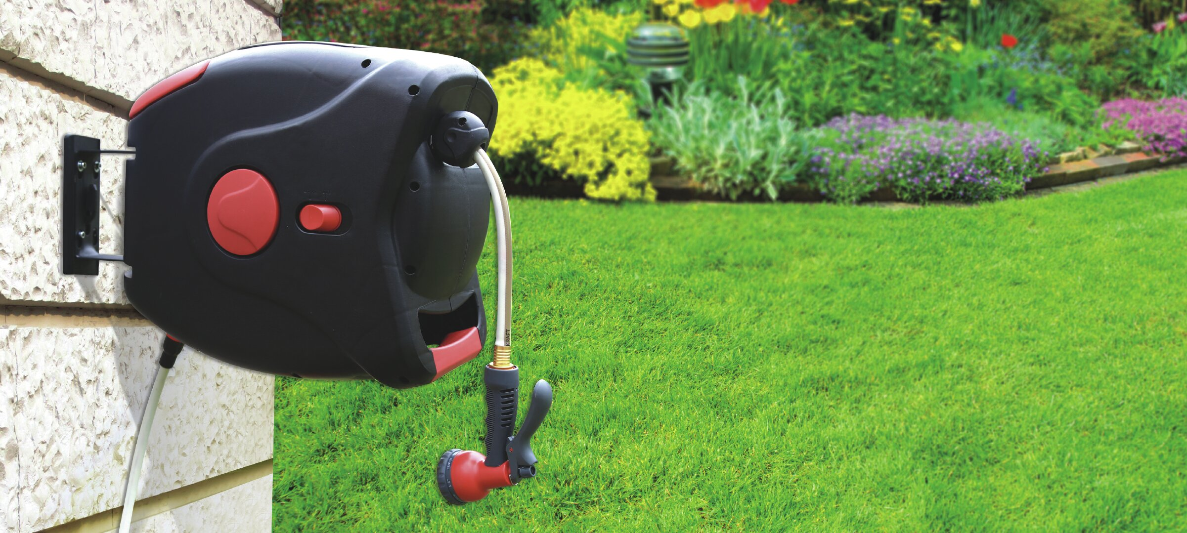 gartenkraft plastic wall mounted hose reel with automatic rewind