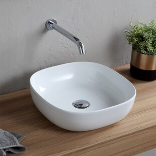 Price Check Specialty Ceramic Vessel Bathroom Sink with Overflow ByScarabeo by Nameeks