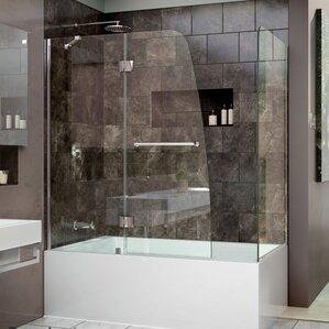 bathroom shower doors. Aqua 60  x 58 Hinged Shower Bathtub Doors You ll Love Wayfair