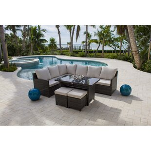 Saliba 5 Piece Rattan Sunbrella Sectional Seating Group with Cushions