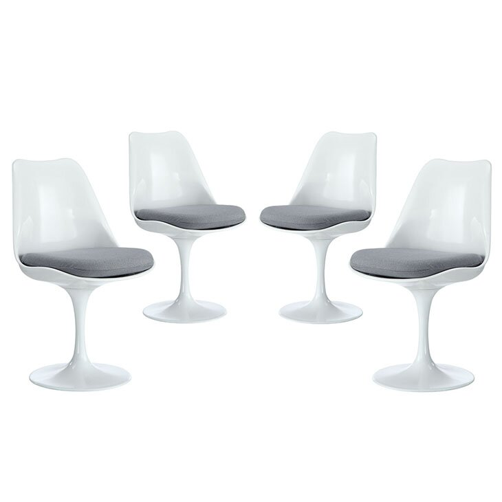 Set of 4 Modern White Saarinen Style Tulip Dining Chairs #saarinen #modern #whitechair #tulipchair