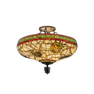 Meyda Tiffany Pinecone 4-Light Semi Flush Mount