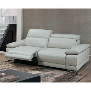 Strafford Leather Reclining Sofa by Latitude Run
