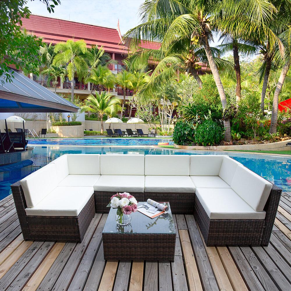 Perfect Merax 7 Piece Rattan Sofa Set With Cushions U0026 Reviews   Wayfair