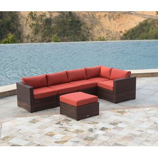 Outdoor 6 Piece Rattan Sectional Seating Group with Cushions