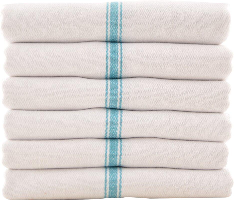 12 Piece Herringbone Pattern Kitchen Dish Towels Set