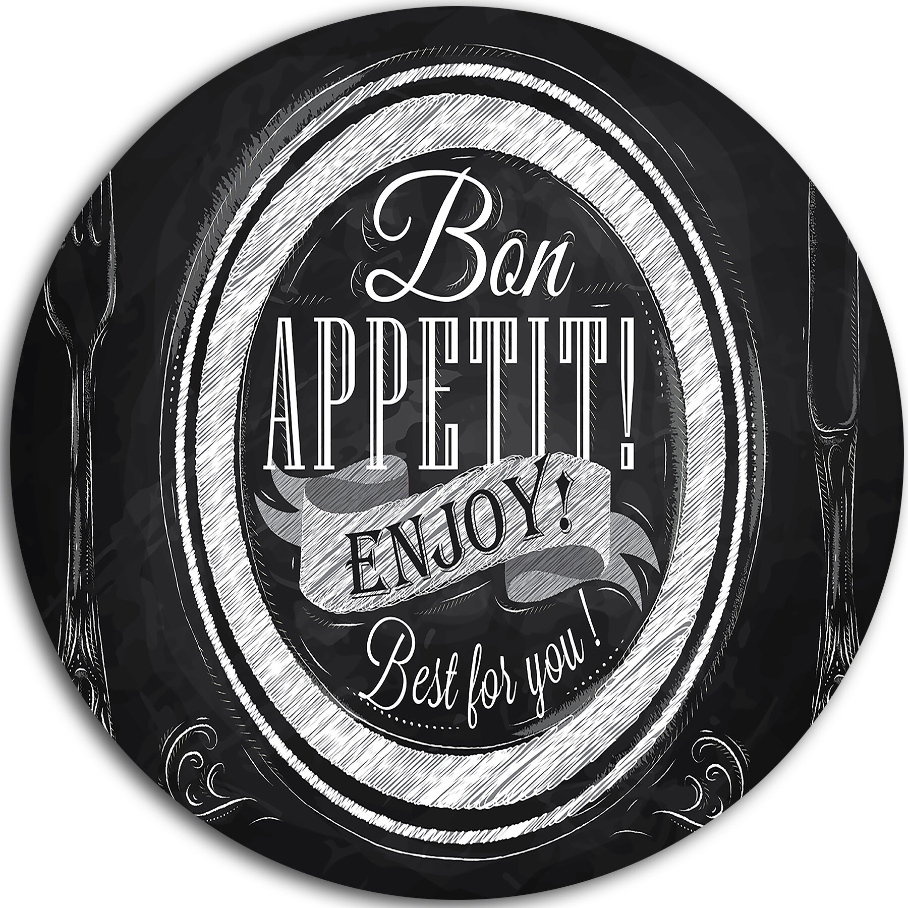 Lettering On Metal Designart 'lettering On A Plate' Painting Print On Metal & Reviews