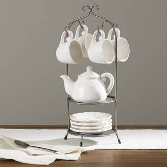 Embossed Coffee Bean Design Ceramic Color Mug set With Metal Tree Stand Rack