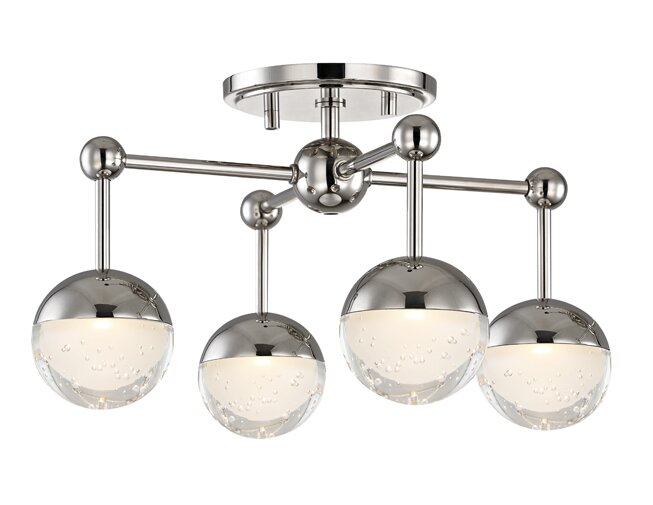 George Oliver  Brubaker 4 Light LED Semi Flush Mount Finish: Polished Nickel