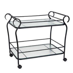Woodard Aluminum Occasional Ramsgate Bar Cart with Obscure Glass