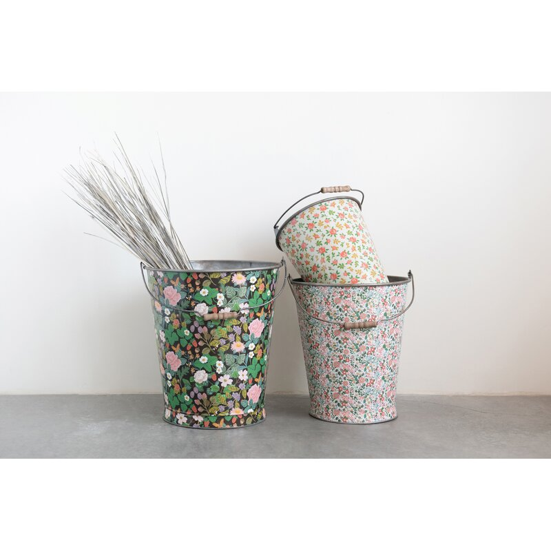 Rosalind Wheeler Decorative 3 Piece Metal Bucket Set Wayfair