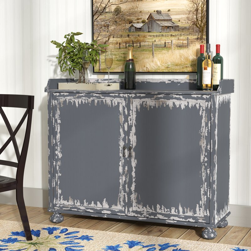 August Grove Bryony Distressed Bar Cabinet & Reviews   Wayfair