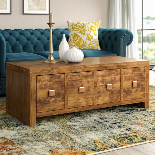 Aster 8 Drawer Coffee Table with Storage Three Posts