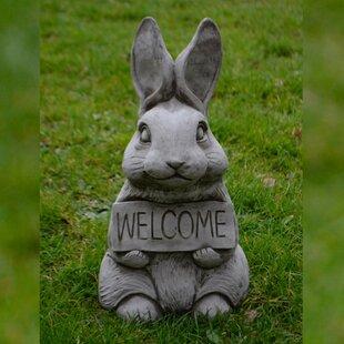 Longoria Welcome Bunny Stone Garden Statue By Happy Larry