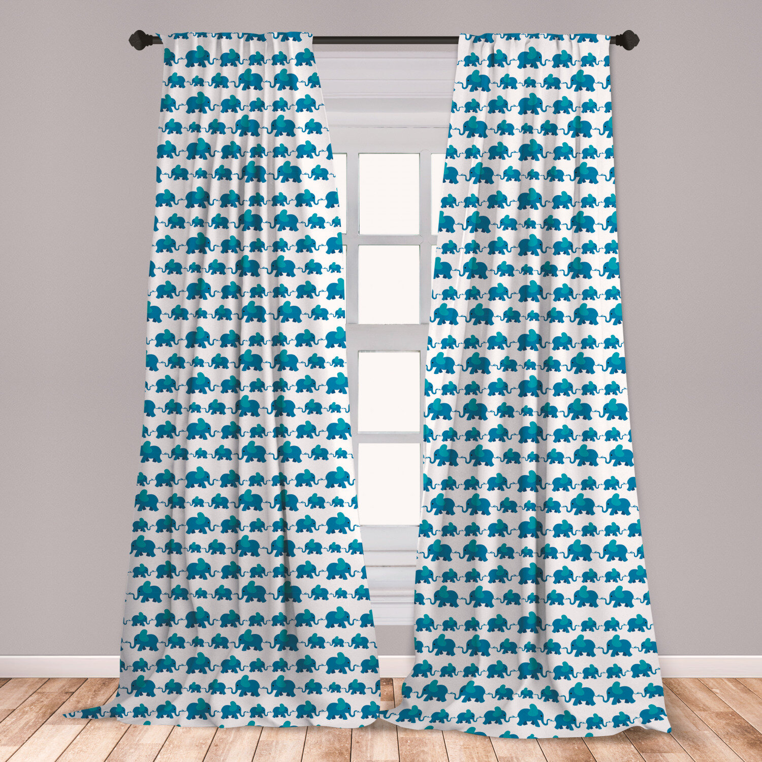 East Urban Home Anerinda Elephant Curtains Children Kids Pattern Nursery Theme Blue Color Animals Horizontal Pattern Window Treatments 2 Panel Set For Living Room Bedroom Decor 56 X 95 Blue White Wayfair
