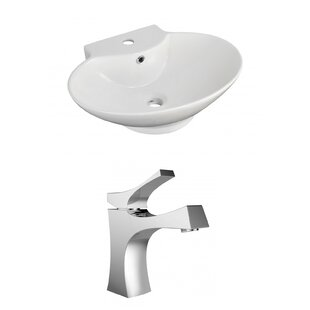 Ceramic 23 Wall Mount Bathroom Sink with Faucet and Overflow ByRoyal Purple Bath Kitchen