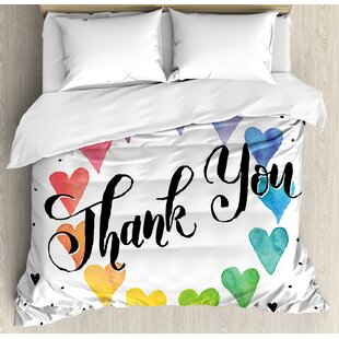 East Urban Home Romantic Thank You Note with Rainbow Like Colored Round Made from Hearts Cute Image Duvet Set