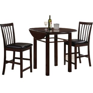 Krug 3 Piece Counter Height Drop Leaf Dining Set by Charlton Home
