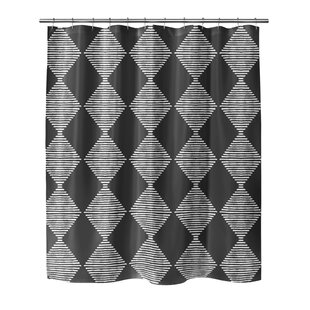 Hot Springs Block Print Check Board Single Shower Curtain