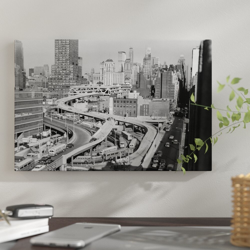 '1960s Overhead of Port Authority Traffic Ramps in New York City USA'  Photographic Print on Wrapped Canvas