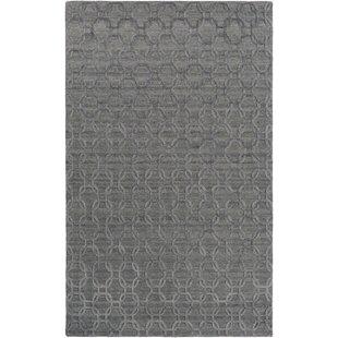 Affordable Price Elvira Geometric Hand Woven Medium Gray/Black Area Rug By Mercer41